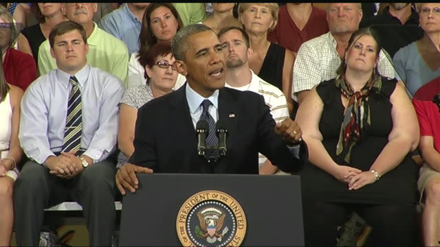 president barack obama says businesses will relocate to places with better infrastructure during a 2013 speech about the economy and the middle class - business or economy or employment and labor or financial market or finance or agriculture stock videos & royalty-free footage