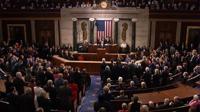 president barack obama says in his final state of the union address if congress is serious about winning a war with isil to take a vote on... - rede zur lage der nation usa stock-videos und b-roll-filmmaterial