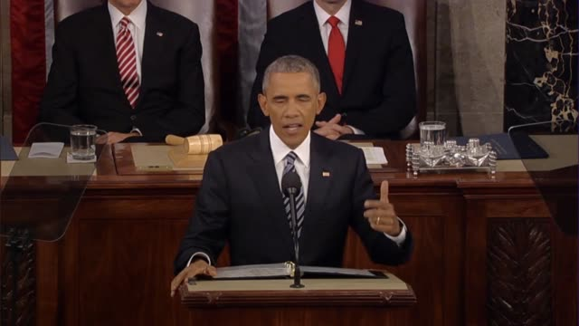 president barack obama says in his final state of the union address al qaeda and isis are a direct threat to the american people because if you can... - {{ contactusnotification.cta }} stock-videos und b-roll-filmmaterial
