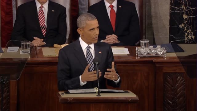 president barack obama says in his final state of the union address the climate change is linked to the rest of the world asking how to a keep... - rede zur lage der nation usa stock-videos und b-roll-filmmaterial