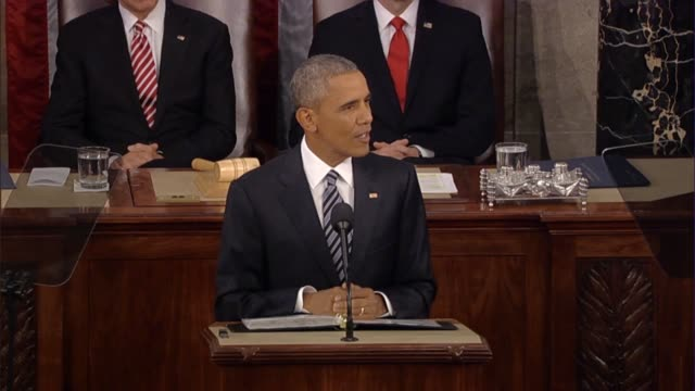 president barack obama says in his final state of the union address that america has the strongest economy in the world in the middle of the longest... - rede zur lage der nation usa stock-videos und b-roll-filmmaterial