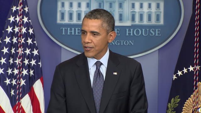 stockvideo's en b-roll-footage met president barack obama says that americans do not demand ransoms for doing their jobs like house republicans have done during the 2013 government... - united states and (politics or government)