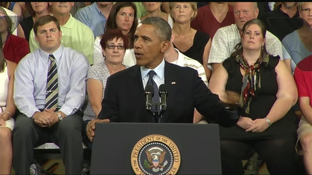 stockvideo's en b-roll-footage met president barack obama says that he is going to continue to focus on improving health care during a 2013 speech about the economy and the middle class - business or economy or employment and labor or financial market or finance or agriculture