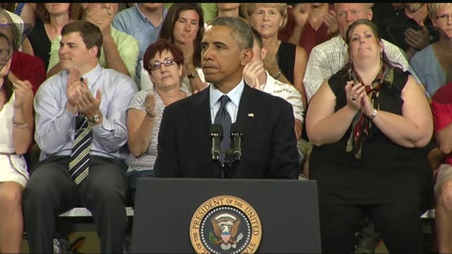 vídeos de stock, filmes e b-roll de president barack obama says that he is working to reverse recent hikes in student loan interest rates during a 2013 speech about the economy and the... - business or economy or employment and labor or financial market or finance or agriculture