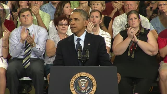 stockvideo's en b-roll-footage met president barack obama says that he will continue to advocate for raising the minimum wage during a 2013 speech about the economy and the middle class - business or economy or employment and labor or financial market or finance or agriculture