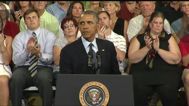 stockvideo's en b-roll-footage met president barack obama says that he will focus energy on reducing education costs during a 2013 speech about the economy and the middle class - business or economy or employment and labor or financial market or finance or agriculture