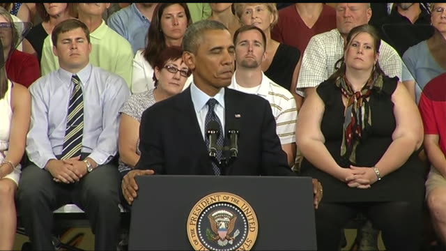stockvideo's en b-roll-footage met president barack obama says that some republicans agree with him privately but are afraid to do so publicly during a 2013 speech about the economy... - business or economy or employment and labor or financial market or finance or agriculture