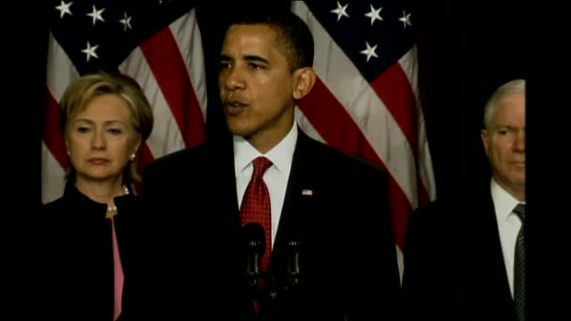 president barack obama sets out new strategy usa washington int obama press conference sot talks of deploying 4000 more troops to afghanistan - conferenza stampa video stock e b–roll