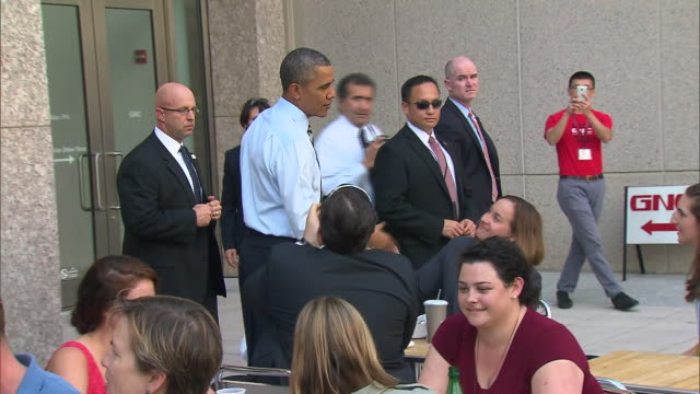 stockvideo's en b-roll-footage met president barack obama shakes hands with people at taylor gourmet during the 2013 government shutdown - united states and (politics or government)