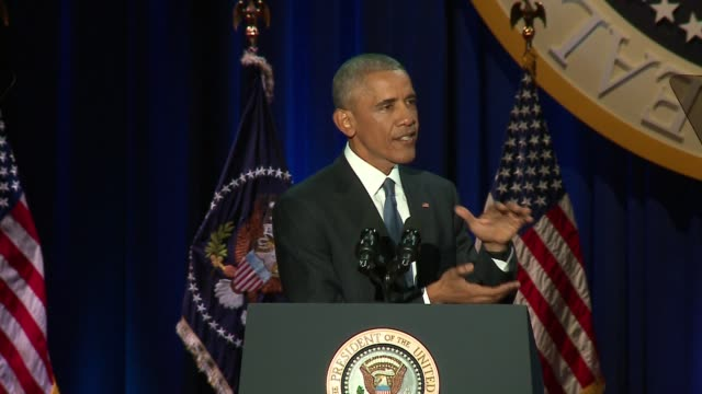 president barack obama speaking at his presidential farewell address in mccormick place in chicago on jan. 10, 2017. - rede stock-videos und b-roll-filmmaterial