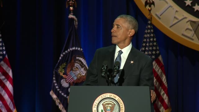 WGN President Barack Obama speaking at his presidential Farewell Address in McCormick Place in Chicago on Jan 10 2017