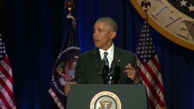 wgn president barack obama speaking at his presidential farewell address in mccormick place in chicago on jan 10 2017 - saying goodbye stock videos & royalty-free footage