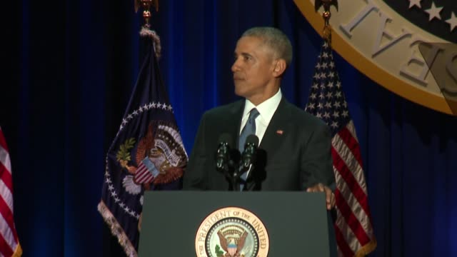 wgn president barack obama speaking at his presidential farewell address in mccormick place in chicago on jan 10 2017 - fake stock videos & royalty-free footage