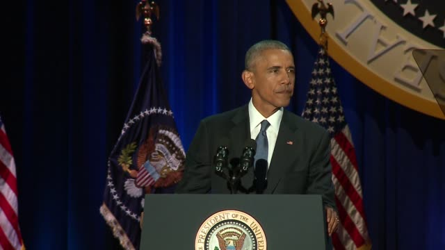 president barack obama speaking at his presidential farewell address in mccormick place in chicago on jan. 10, 2017. - paris agreement stock videos & royalty-free footage