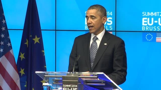 us president barack obama speaks after euus summit then herman von rompuy the eu president - g8:s toppmöte bildbanksvideor och videomaterial från bakom kulisserna