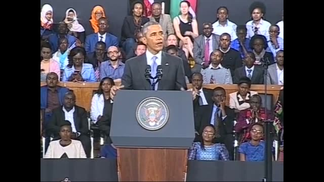 S President Barack Obama speaks to Kenyan citizens at Safaricom Sports Stadium on 26 July 2015 during his twoday state visit in Kenya