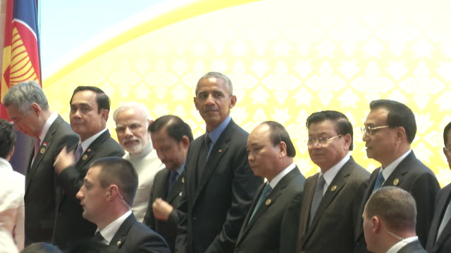 us president barack obama stands for a family photo with asean leaders at the association of southeast asian nations summit obama attempted to... - association of southeast asian nations stock videos & royalty-free footage
