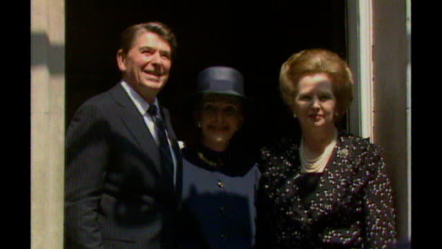 day 1 tx downing street margaret thatcher posing next ronald reagan and nancy reagan - state visit stock videos & royalty-free footage