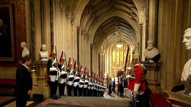 day 2 obama arrives at westminster long shot of obama greeting dignitaries as into palace of westminster general view of guard of honour lining... - guard of honour stock videos and b-roll footage
