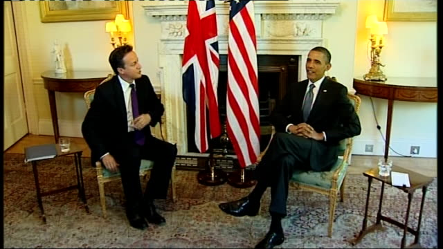 president barack obama state visit: day 2: obama inside downing street; england: london: downing street: int barack obama and david cameron mp seated... - day 2 stock videos & royalty-free footage