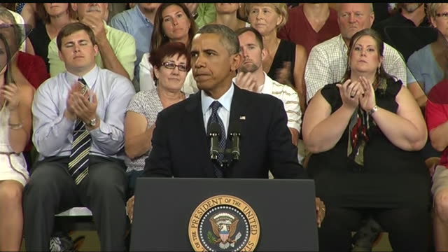 stockvideo's en b-roll-footage met president barack obama talks about his initiative to connect students to high speed internet during a 2013 speech about the economy and the middle... - business or economy or employment and labor or financial market or finance or agriculture
