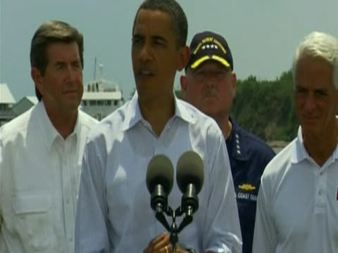 us president barack obama visited the shores of fourchon beach louisiana to examine effects of bp oil spill - 2010 stock videos & royalty-free footage