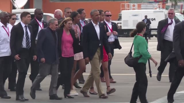US President Barack Obama was seen off at the airport by Cuban President Raul Castro on Tuesday after a historic three day visit to Havana