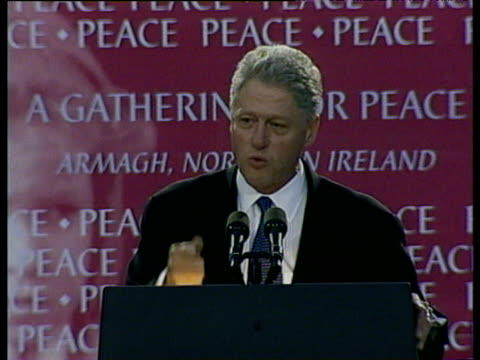 president bill clinton addresses crowd during visit to ireland stressing impact around world of northern ireland peace process - politik und regierung stock-videos und b-roll-filmmaterial