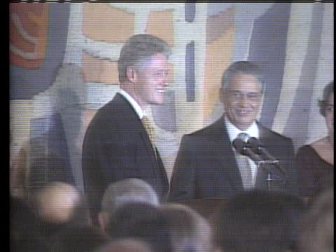 president bill clinton and brazilian president fernando henrique cardoso shake hands at a press conference. int the presidents pose for a picture. - united states and (politics or government) stock videos & royalty-free footage