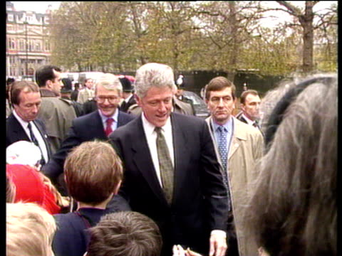 president bill clinton and prime minister john major shake hands with well wishers downing street 29 nov 95 - bill clinton stock videos and b-roll footage