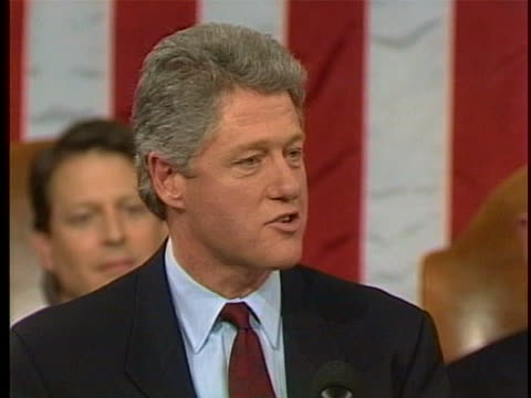president bill clinton asks congress to pass the lobbying disclosure act during his state of the union address in 1993. - bill clinton stock videos & royalty-free footage