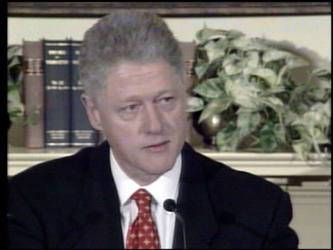 / president bill clinton at press conference emphatically denying that he had 'sexual relations with that woman miss lewinski' bill clinton denies... - bill clinton stock videos & royalty-free footage