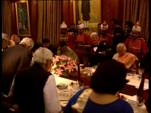 president bill clinton attends a state dinner at the banquet hall in rashtrapati bhavan. - state dinner stock videos & royalty-free footage