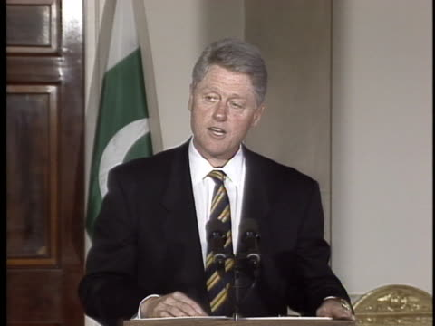president bill clinton gives a speech about the support pakistan has offered the us during peace keeping operations. - united states and (politics or government) stock videos & royalty-free footage