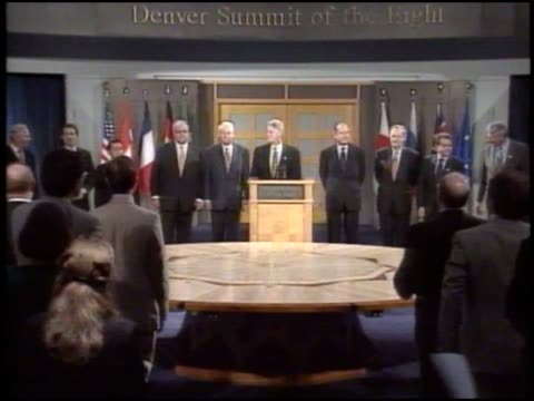president bill clinton introduces g8 summit to reporters. - boris yeltsin stock videos & royalty-free footage