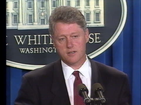 president bill clinton says the oklahoma city bombing terrorists are killers who must be treated as killers. - oklahoma city bombing stock videos & royalty-free footage