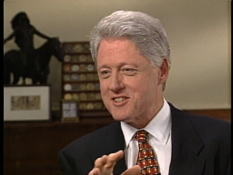president bill clinton talks about some of his favorite entertainers during an interview with katie couric shortly before the turn of the millennium... - ella fitzgerald stock videos & royalty-free footage