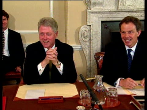 president bill clinton talks about taking advice from tony blair and his admiration for labour majority as he sits with blair and his cabinet... - bill clinton stock videos and b-roll footage