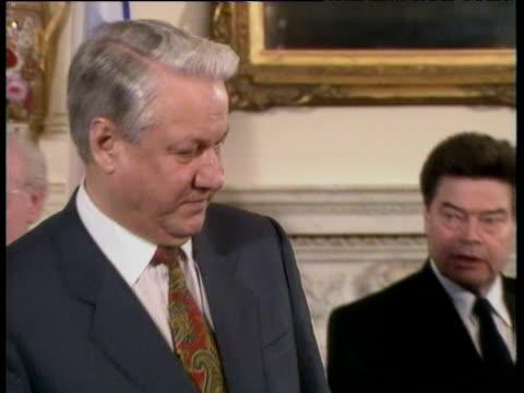 president boris yeltsin and prime minister john major sit down to sign joint declaration of friendship in 10 downing street london; 30 jan 92 - boris yeltsin stock videos & royalty-free footage