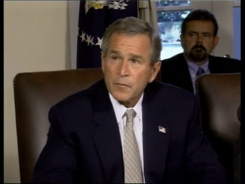 president bush admits saddam hussein not linked directly to 9/11 attacks lunchtime news u'lay washington dc int george w bush press conference sot... - bush stock videos & royalty-free footage