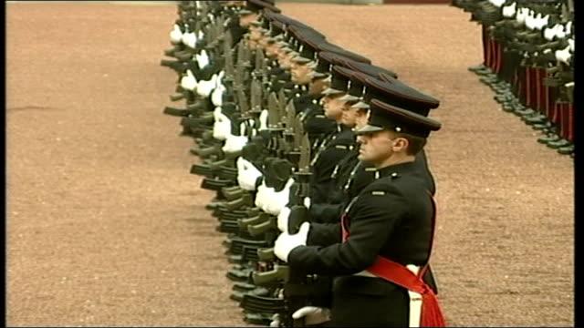 president bush in uk for official visit: buckingham palace; itn england: london: buckingham palace: ext prince philip duke of edinburgh and president... - laura bush stock videos & royalty-free footage