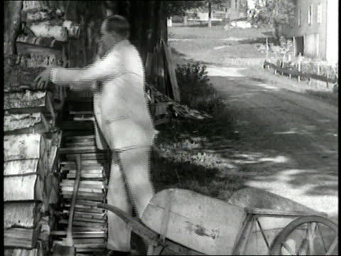 us president calvin coolidge loads firewood into a wheelbarrow and pushes it down a dirt road - wheelbarrow stock videos and b-roll footage