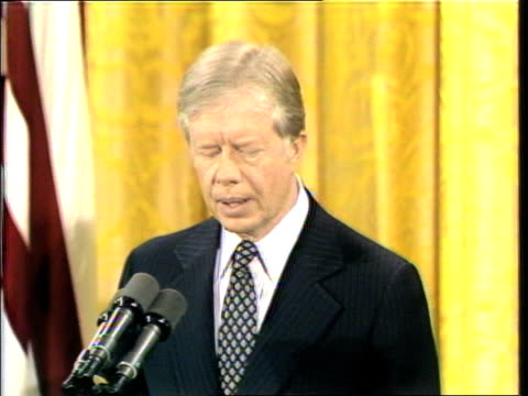 """stockvideo's en b-roll-footage met president carter: """"however, it is my responsibility and my obligation, given the situation in iran, to call on american journalists and news... - non us film location"""