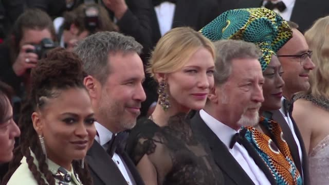 president cate blanchett and her fellow members of the 2018 cannes film festival jury strike a pose on the opening red carpet joining other stars for... - 71st international cannes film festival stock videos & royalty-free footage