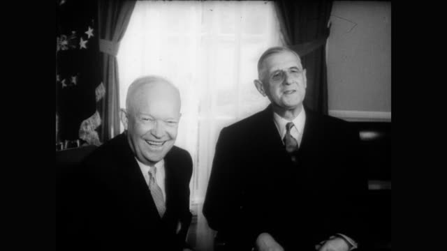 / president charles de gaulle and president dwight eisenhower talk at white house / de gaulle lays wreath at lafayette statue president eisenhower... - charles de gaulle stock videos & royalty-free footage