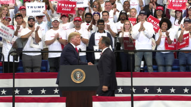 president donald j. trump campaigns for kentucky republican governor matt bevin at rupp arena, november 4, 2019 at rupp arena in lexington, kentucky.... - political rally stock videos & royalty-free footage