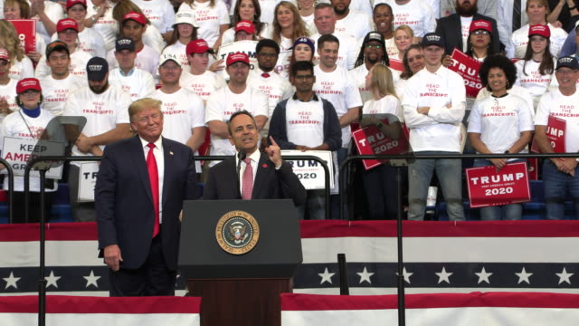 president donald j. trump campaigns for kentucky republican governor matt bevin at rupp arena, november 4, 2019 at rupp arena in lexington, kentucky.... - 長点の映像素材/bロール
