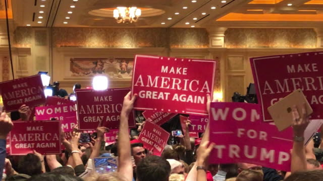us president donald j trump make america great again rally las vegas october 30 2016 one week before election pov trump crowd trump talks about... - partito repubblicano degli usa video stock e b–roll