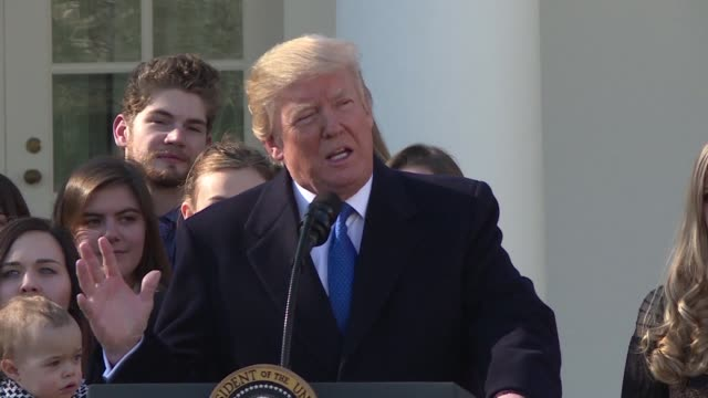 US President Donald Trump addresses anti abortion activists gathered in Washington DC for the March for Life in an historic speech