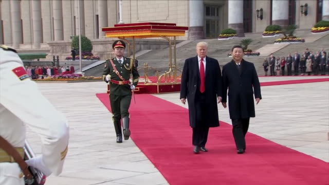 president donald trump and chinese president xi jinping during a welcoming ceremony in beijing, china. - beijing stock videos & royalty-free footage